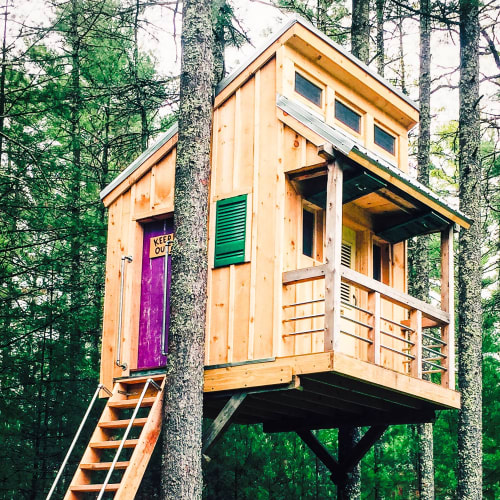 Architecture by American Revolution Design seen at Private Residence, Hopkinton - Timber frame tree house
