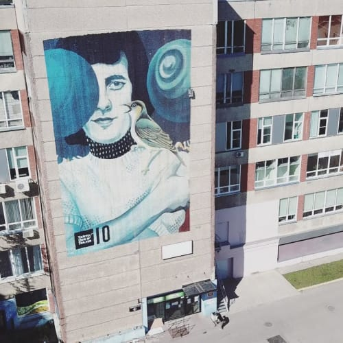 Murals by Robot Muralist seen at Tartu New Theater, Tartu - Portrait of Jaak Joala