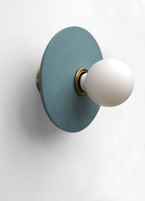 Sconces by What The Mood seen at Private Residence, Bristol - Full Moon - Blue | Brass Wall Light