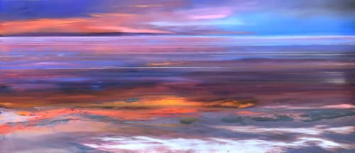 Paintings by Caroline Hall seen at Private Residence - St Ouen's Bay.  Sunset.