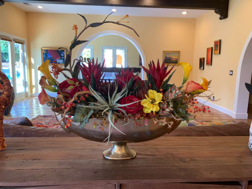 Floral Arrangements by Fleurina Designs seen at Private Residence, Los Gatos - Silk floral arrangement