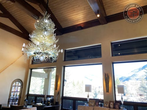 Chandeliers by Anchor Bend Glassworks seen at Private Residence, Vail - Custom Glass Antler Chandelier