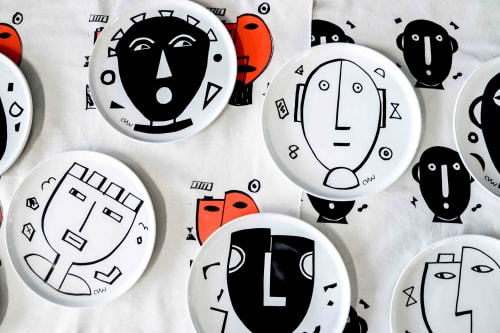Ceramic Plates by Clementina Ceramics seen at Clementina Ceramics Studio, Cape Town - The Mask Series - Plates