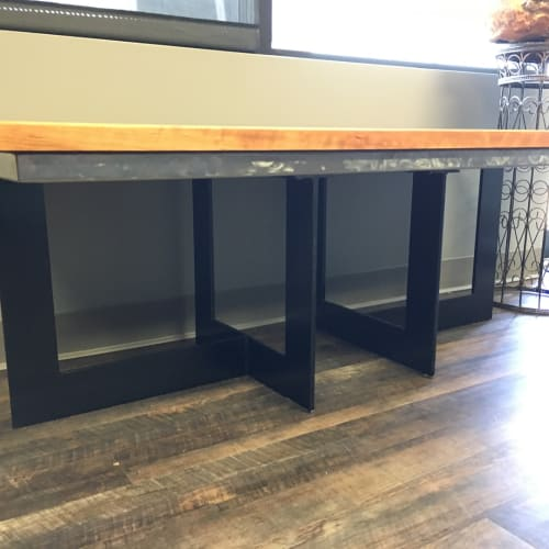 Furniture by Amie Jacobsen Art and Design seen at Blackstone Environmental, Inc., Overland Park - Reception Desk and Bench