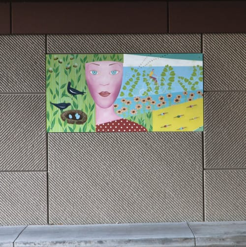 "Street Murals by Yulia Avgustinovich seen at Garrison Street, Lakewood - Underpass Mural ""The Four Graces"""