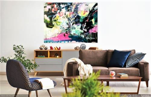 Paintings by Marie Manon Art seen at Private Residence, Calgary - Tropical Garden Painting - Original artwork by Marie Manon