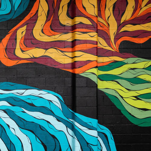 Street Murals by Alexandra Bellas seen at Riot Wine Co, Brompton - Abstract mural at Riot Wine Co