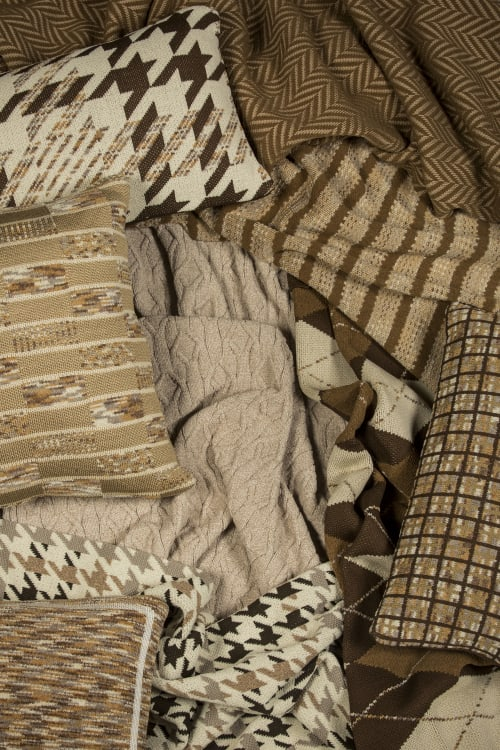 Pillows by Studio Twist seen at Private Residence, Atlanta - Knitted Throws and Pillows in Polypropylene & Polyplush - Earth