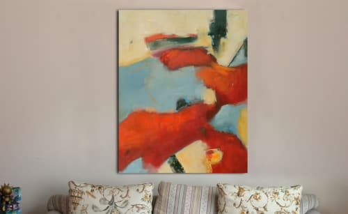 Paintings by Cecilia Arrospide at Private Residence - Lima, Peru, Lima - RED IN BLUES  I