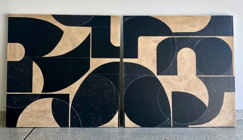 Paintings by TS ModernArt Studio seen at Private Residence, Manhattan Beach - Neutral No. 3