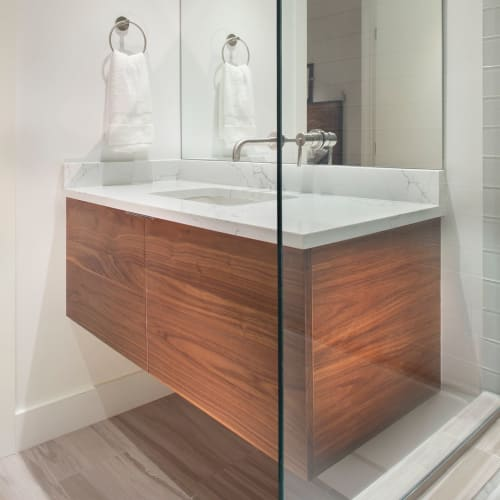 Furniture by Kenichi Woodworking seen at Private Residence, Aspen - Custom floating vanity