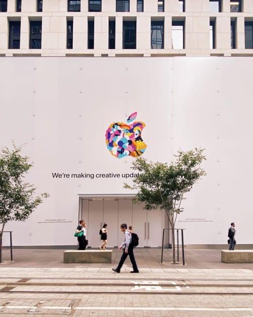 Murals by Brolga seen at Apple Sydney, Sydney - Apple Illustration