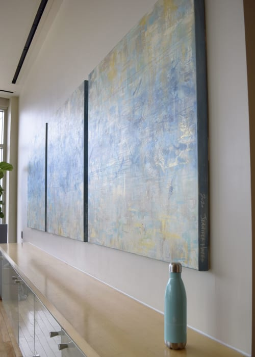 Paintings by Jennifer Hayes seen at Spa and Salon at Four Seasons Hotel St. Louis, St. Louis - Four Seasons Spa Abstract Triptych