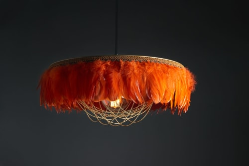 Pendants by Coldharbour Lights seen at Comptoir+Cuisine, Bath - Gloria feather light shade