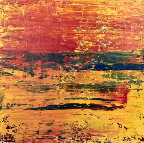 Paintings by Maria-Victoria Checa Art seen at Bethesda, Bethesda - Abstract Oil Painting of a Sunset