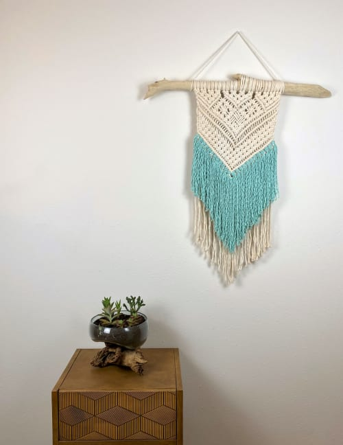 Macrame Wall Hanging by Cosmic String Fiber Art seen at Private Residence, St. Louis - White Macramé Wall Hanging with Turquoise Fringe