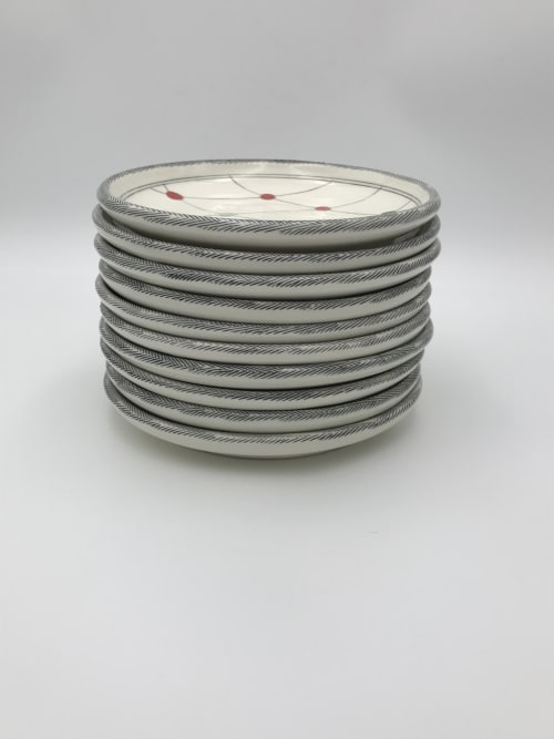 Ceramic Plates by Amy Halko Ceramics seen at Private Residence, Denver - Wedding registry dinnerware set for 10.
