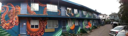 Street Murals by Lindsey Millikan (Milli) seen at Private Residence - Oakland, CA, Oakland - Killer Octopus Mural