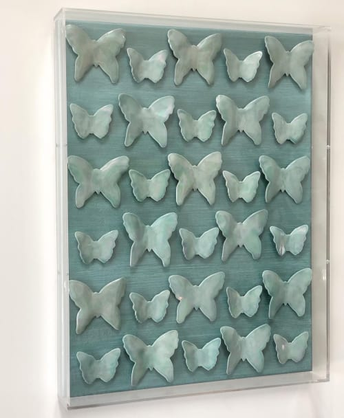 Art & Wall Decor by Carlie Stracka seen at Private Residence, San Diego - Aqua Butterflies