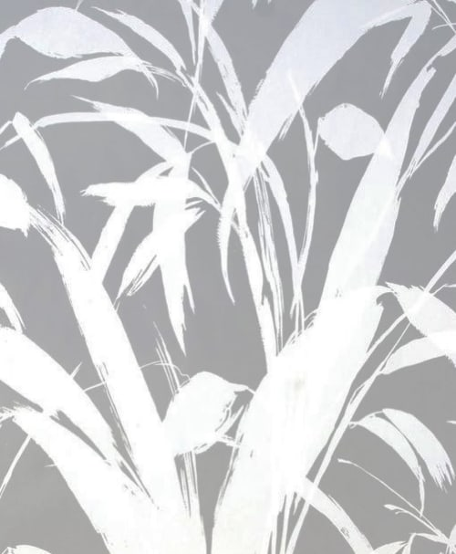 Wallpaper by Meg Braff Designs seen at Veronica Beard, San Francisco - Meadow Reed in Silver Mylar