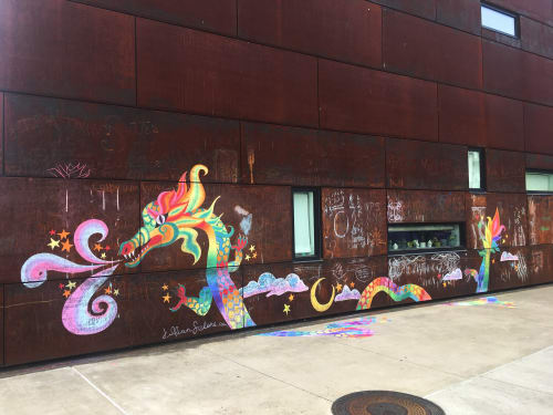 Murals by Jillian Selene Art seen at AHHA, Tulsa - Rainbow Dragon Mural