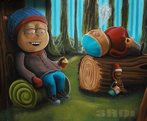 Murals by 3rdi Art seen at 815 S Lorena St, Los Angeles - South Park theme mural