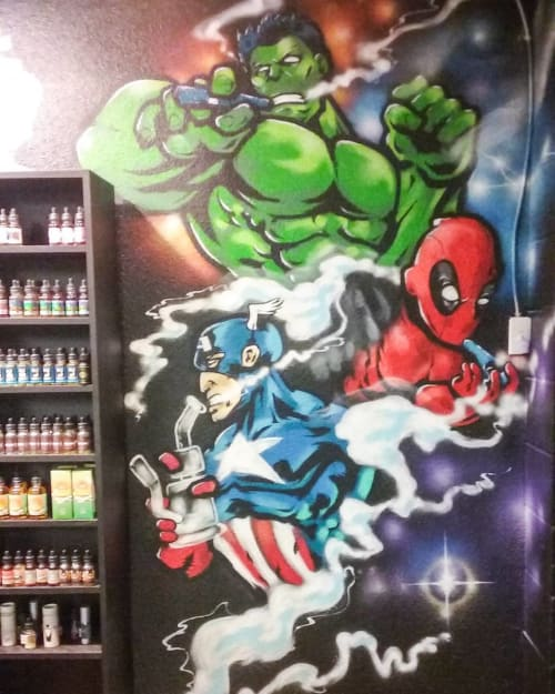 Murals by Lopanb4000 seen at The Paradox Smoke and Vape Shop, Carmichael - Marvel Heroes Mural