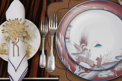 Ceramic Plates by Cosima Interiors seen at Private Residence, London - Plum tablescape
