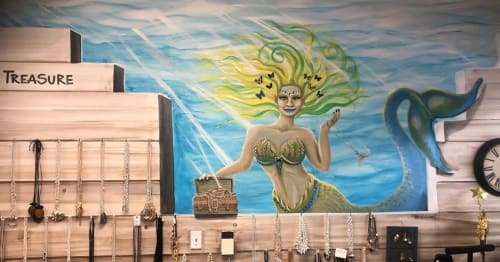 Murals by Kelly Everill Zotek seen at Sea Breeze Boutique, Comox - Mermaid murals