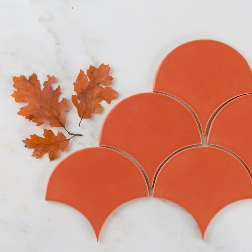 Tiles by Fireclay Tile seen at Private Residence, San Francisco - Tangerine Ogee Drop