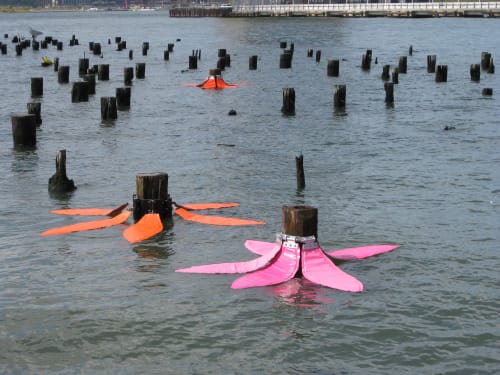 Public Sculptures by Sere Ltd. Water Land Art .   Home for the Rain .   Art for the Tides . seen at Schuylkill River - Tide Flowers