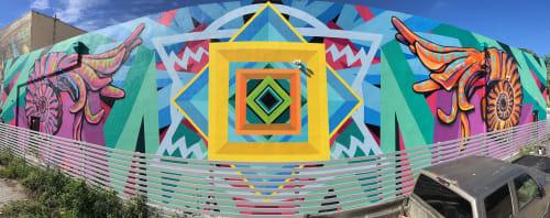 Street Murals by Jason T. Graves seen at Wynwood Art District, Miami - Art Basel – Ammonite – Collaboration – 2017 – Wynwood, Miami, Florida