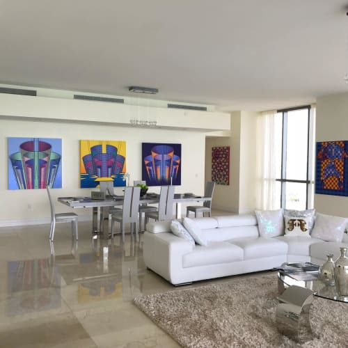 Paintings by Sid Daniels seen at The Mansions at Acqualina, Sunny Isles Beach - Labyrinth Trio