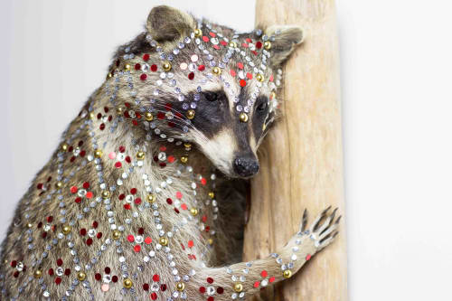 Sculptures by Cassandra Smith seen at Surety Hotel, Des Moines - Sequined Raccoon