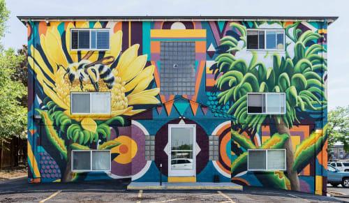Murals by Katy Casper seen at 1460 N Lamar St, Lakewood - Wild Urban Medicine: Gumweed