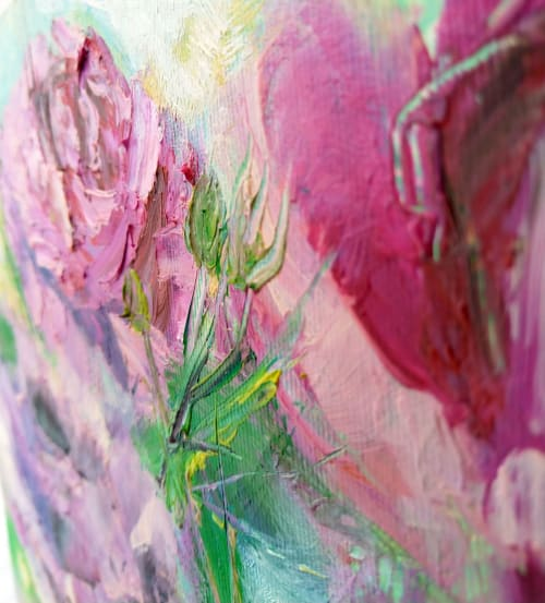 Paintings by Kselma Randvald seen at Private Residence, Nessebar - Pink delicate damask roses