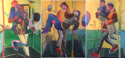 Paintings by Owen Brown seen at Minneapolis Convention Center, Minneapolis - The Ghouta Triptych