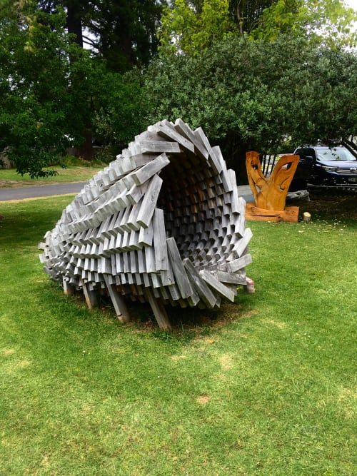 Public Sculptures by Dave Fowell seen at Eggsentric Cafe And Restaurant, Cooks Beach - Vortex