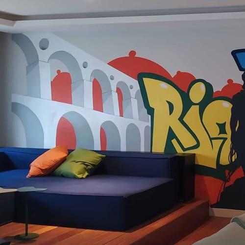 Murals by Leandro ICE seen at Private Residence, Barra da Tijuca - Graffiti Decor