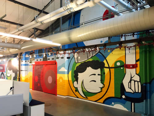 Murals by Anthony Lewellen seen at Radio Flyer, Chicago - Radio Flyer