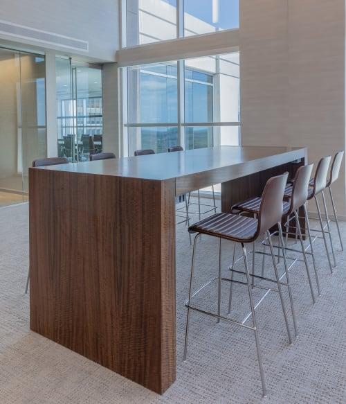 Tables by Nevers Industries seen at Florida - Custom wood veneer Parsons table-type furniture