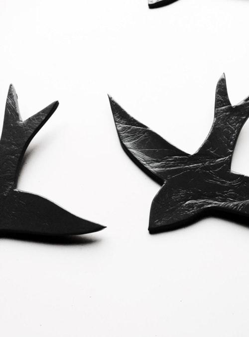 Art & Wall Decor by Elizabeth Prince Ceramics seen at Creator's Studio, Manchester - Set Of 3 Black Porcelain Swallows