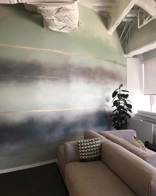 Wall Treatments by Caroline Lizarraga seen at Private Residence, Los Angeles - Hand painted ombre stripe wall treatment
