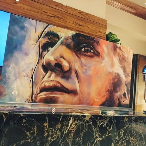 Paintings by WilleyArt seen at Hard Rock Stadium, Miami Gardens - Jason Taylor, Hall of Fame