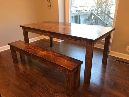 Tables by Walker & Wood seen at Private Residence, Franklin - Dining Room Table and Bench