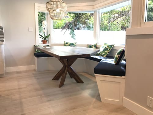 Interior Design by Wooden Tuna Woodshop seen at Private Residence, Boca Raton - Custom shape Walnut Table and kitchen nook