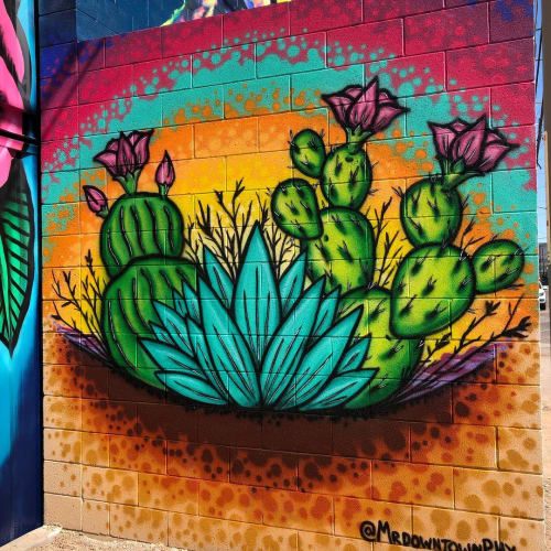 "Murals by Jesse Perry Art seen at The Churchill, Phoenix - ""1 1/2 Street Mural"""