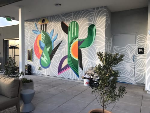 Murals by Ashley Macias seen at 222 E Portland St, Phoenix - Cosmic Heads