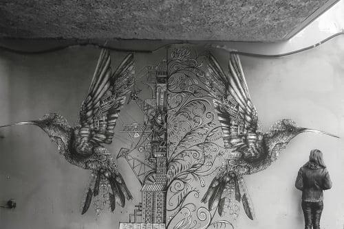 Murals by Ardif seen at Boulogne-Billancourt, Boulogne-Billancourt - Hummingbirds Mechanimal