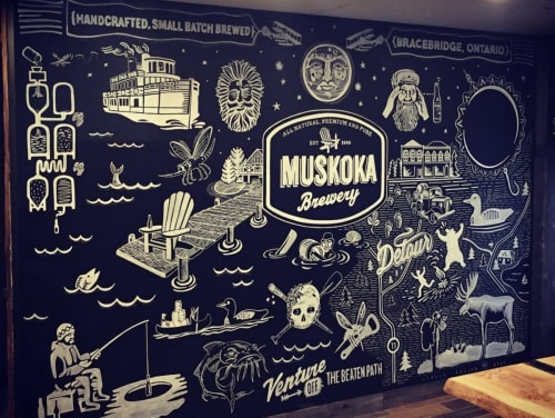 Murals by Leslie Phelan Mural Art + Design seen at Muskoka Brewery, Bracebridge - Muskoka Brewery Mural Wall